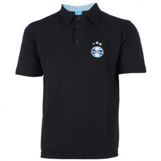 Imagem - Camisa Polo Preta Masculina Pique Grêmio cód: G5890