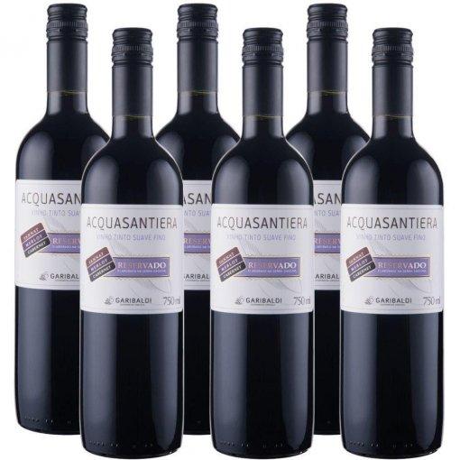 PACK Vinho Garibaldi Acquasantiera Reservado SUAVE Cabernet Sauv/ Merlot/ Tannat 750ml -( cx c/ 6und)