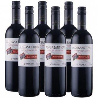 PACK Vinho Garibaldi Acquasantiera Reservado DEMI-SEC Cabernet Sauv/ Merlot/ Tannat 750ml -( cx c/ 6und)