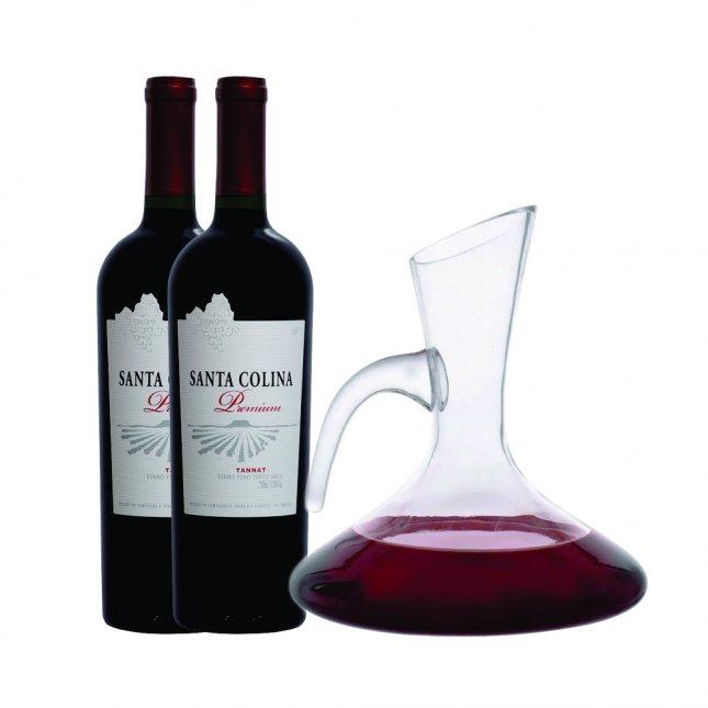 2 Vinhos Santa Colina Tannat Premium Safra 2007 + Decanter + FRETE GRÁTIS