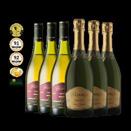 Imagem - Kit 3 Vinhos Aliança Chardonnay + 3 Espumantes Aliança Moscatel cód: 15102024