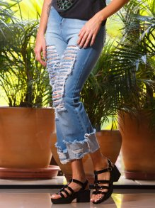Calça Pantalona Lady Rock Puídas