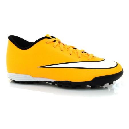 Chuteira Society Nike Mercurial LARANJA BRANCO PRETO Com o Melhor Preço na  Vizzent ee705a23de95a
