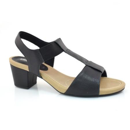 Sandália De Couro De Salto Baixo Usaflex