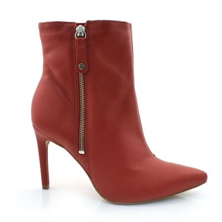 Ankle Boots De Couro E Salto Alto Tanara