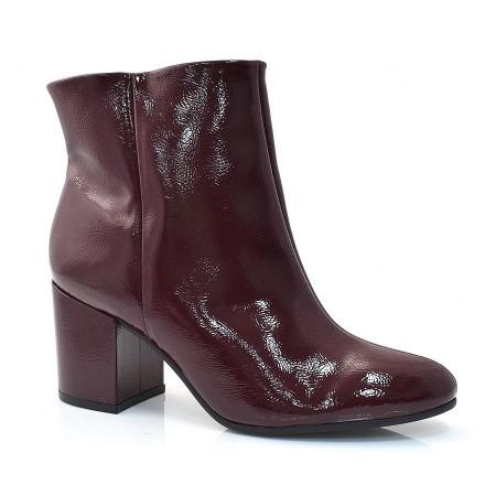 Ankle Boots De Verniz E Salto Alto Sandra