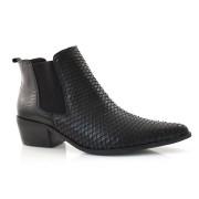 Ankle Boot De Couro Com Elático Suzzara