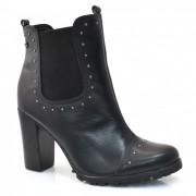 Ankle Boots De Couro E Salto Alto Cravo E Canela