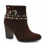 Ankle Boots De Couro E Salto Alto Dakota