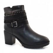 Ankle Boots De Couro E Salto Alto Bottero