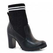 Ankle Boots Meia De Couro E Salto Alto Cravo E Canela