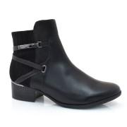 Ankle Boots De Couro E Salto Baixo Comfortflex