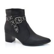 Ankle Boots De Couro E Salto Baixo Tanara