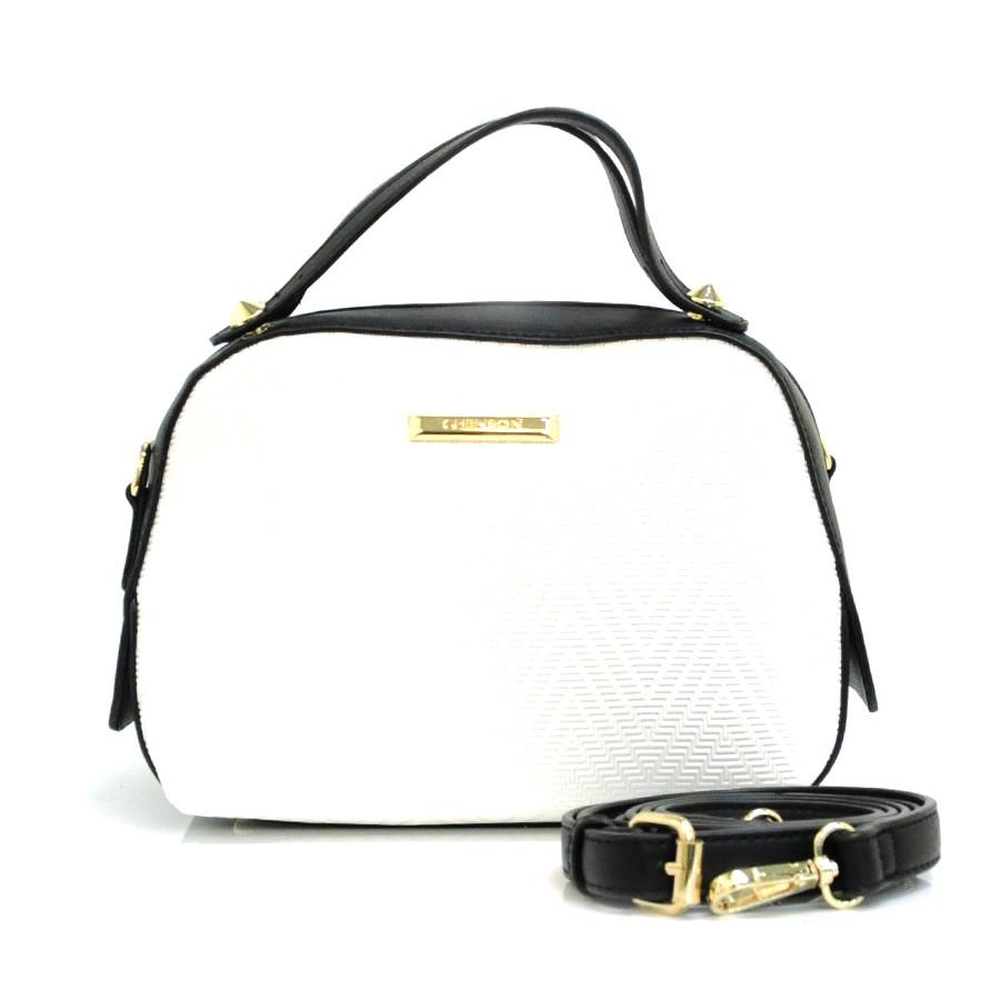 ddbabc212 Bolsa Feminina Branca Com Preto Chenson BRANCO Com o Melhor Preço na ...
