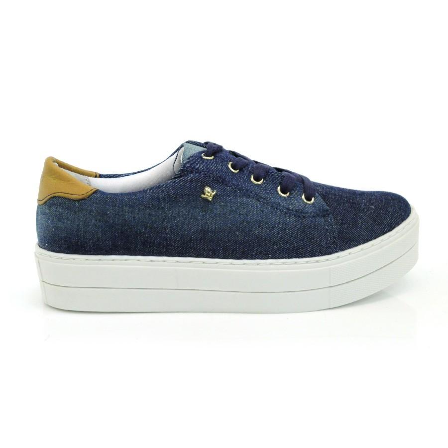 Tênis Flatform Jeans Cravo E Canela JEANS AZUL 1 Com o Melhor Preço ... 027943941110e