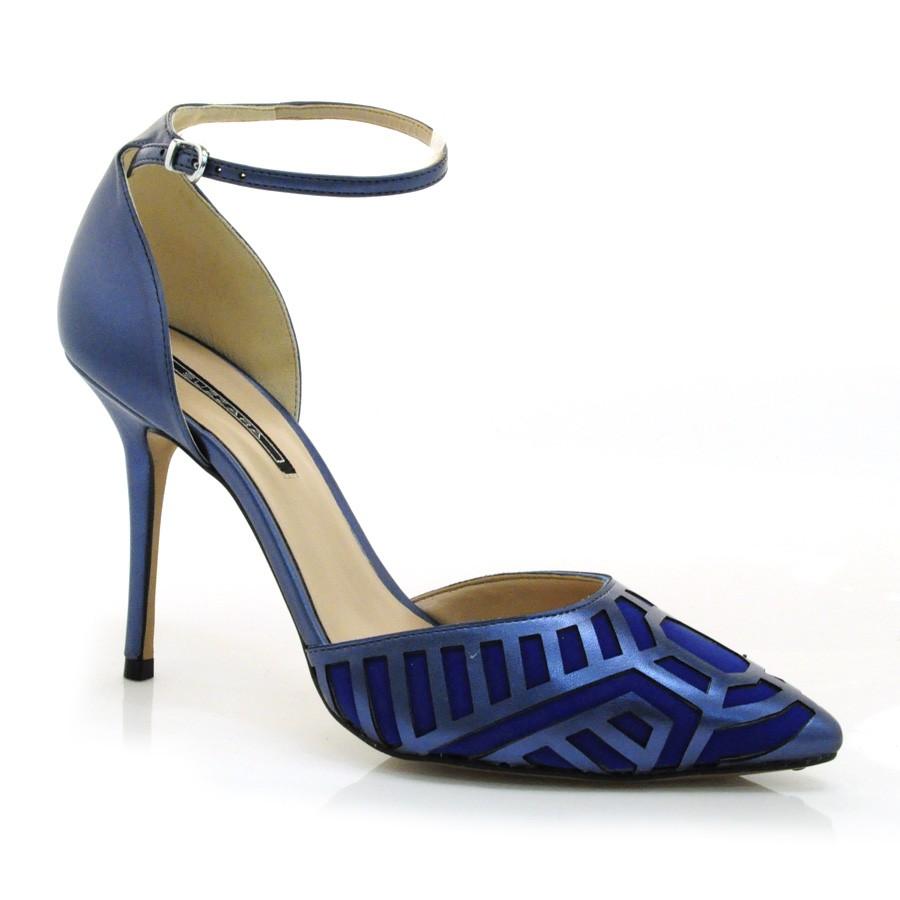 ed37e0aada Sapato Scarpin Social De Festa Suzzara AZUL Com o Melhor Preço na ...