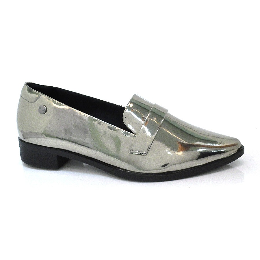 f5e66a9bf Sapato Mocassim Metalizado Feminino Quiz   Vizzent Calçados