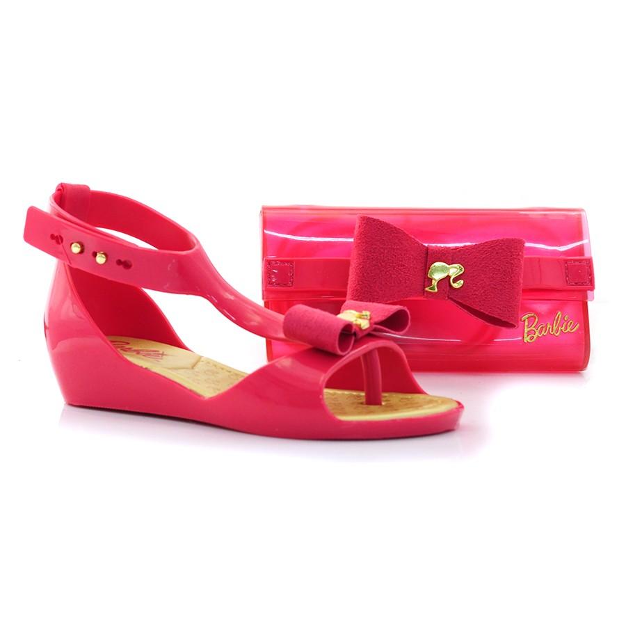 6dd9bfe47 Sandália Infantil Barbie Luxury Com Bolsa De Brinde ROSA/OURO Com o ...