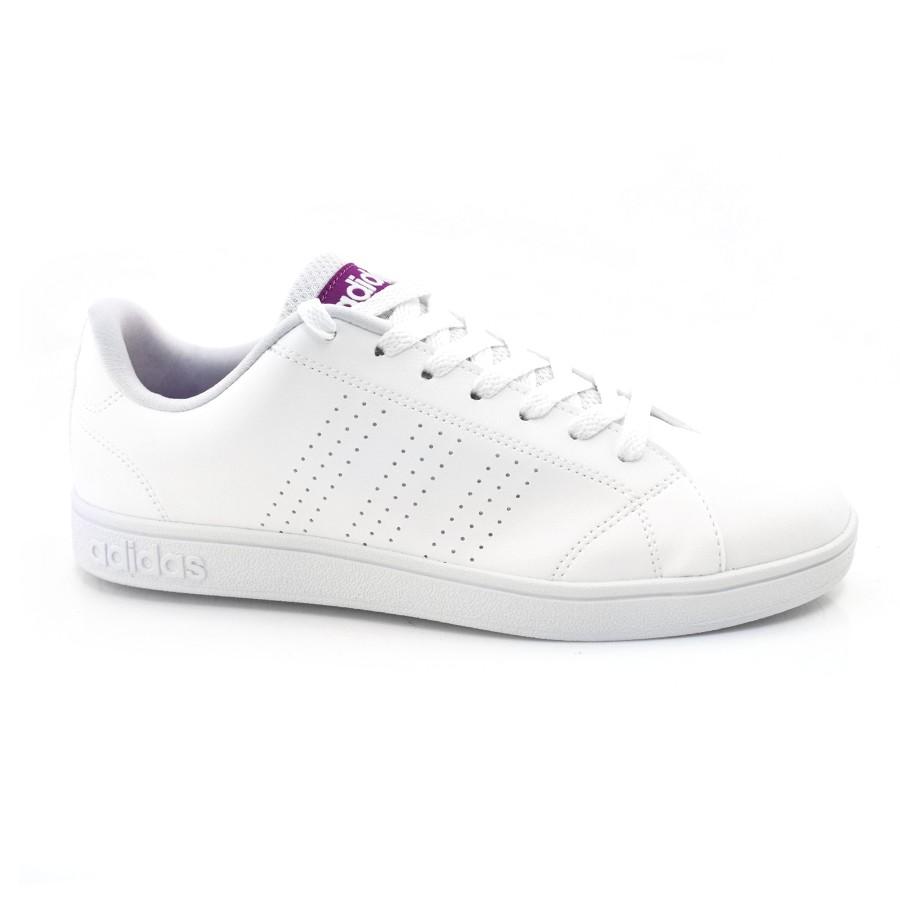 ee0fec473 Tênis Branco Feminino Adidas Vs Advantage BRANCO ROXO Com o Melhor ...