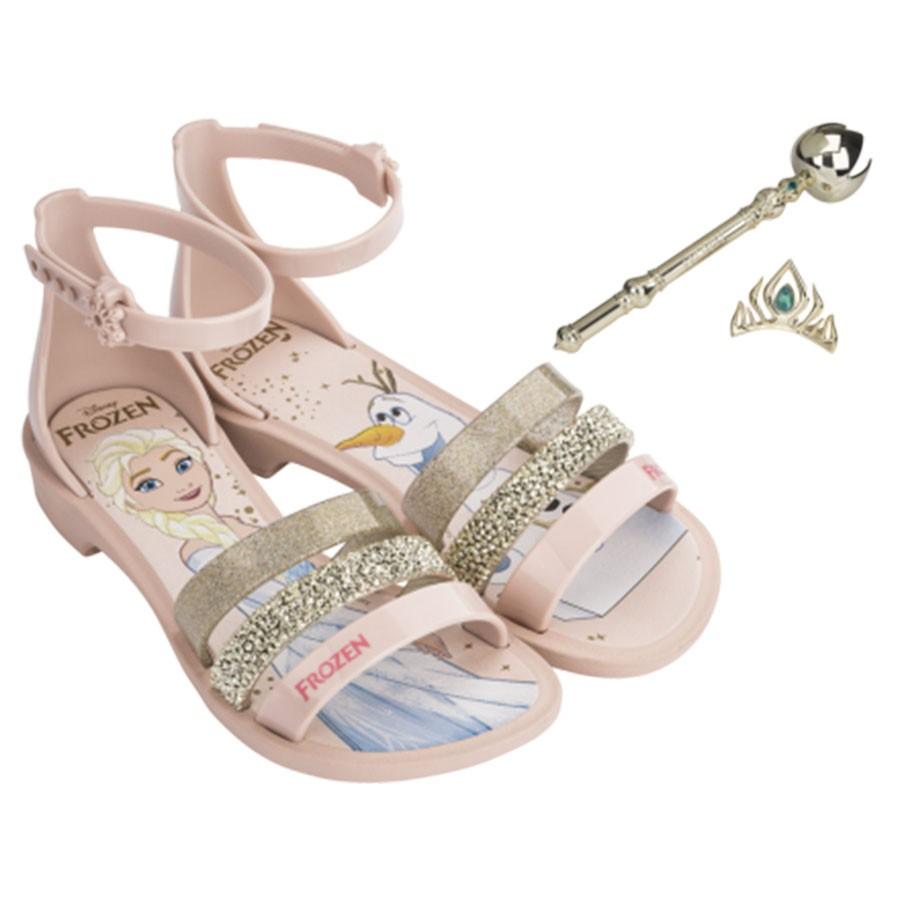 3abc6dc7d Sandália Infantil Disney Frozen + Cetro E Coroa ROSA OURO 50927 Com ...