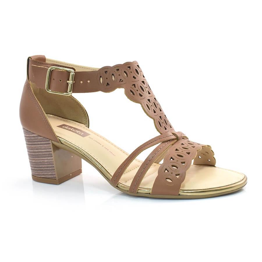 dccdfc228 Sandália De Salto Baixo Dakota CANELA 003 (S) Com o Melhor Preço na ...