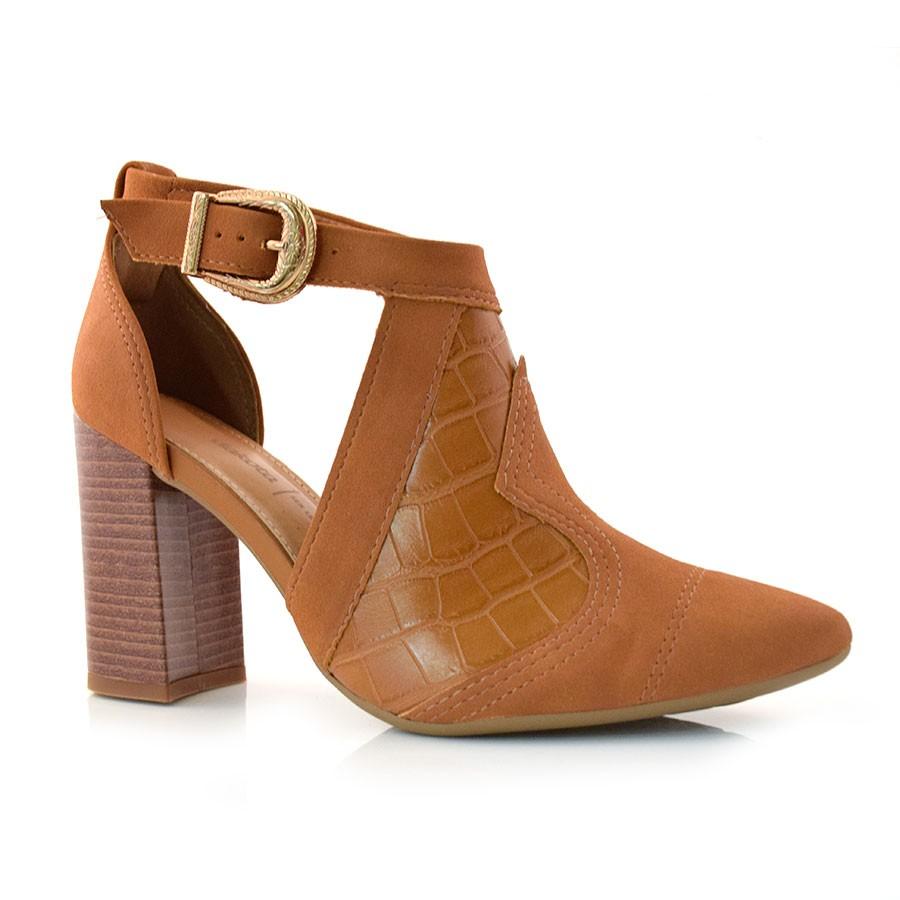 fce7b999696 Sapato Feminino De Salto Bloco Dakota MASCAVO 005 (S) Com o Melhor ...