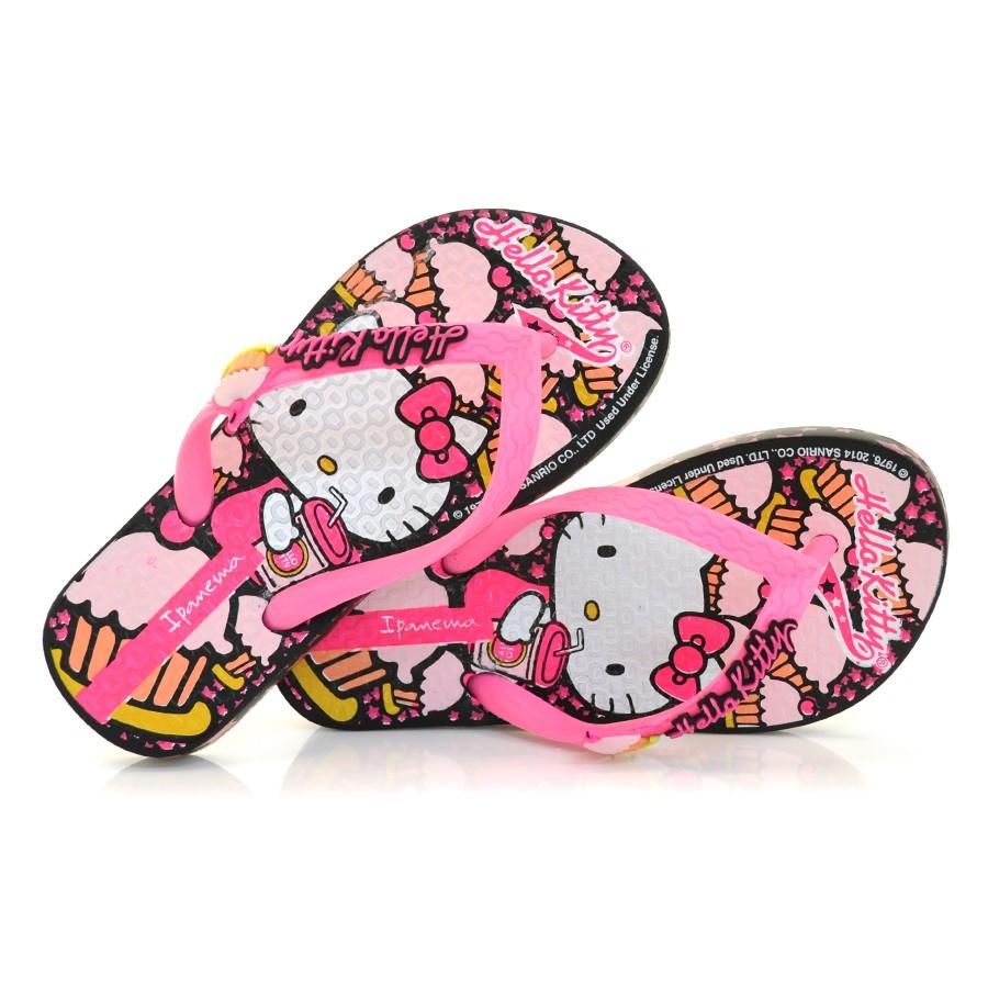 4887181f9 Chinelo Ipanema Infantil Hello Kitty PRETO/ROSA Com o Melhor Preço ...