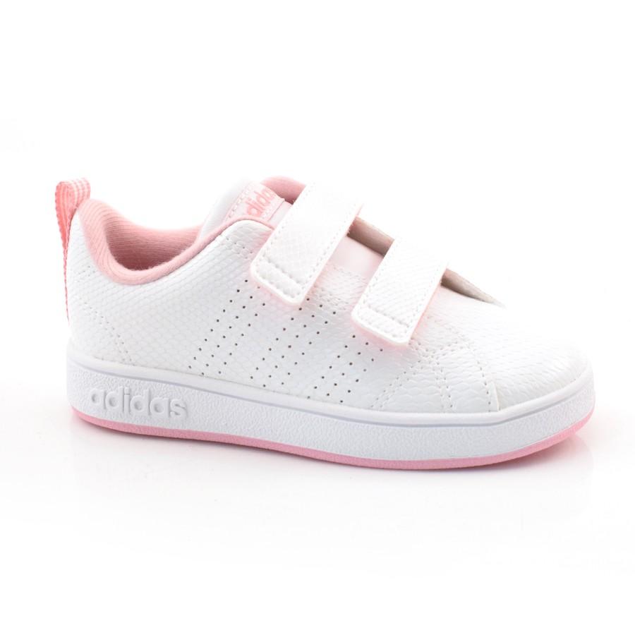 ee4e5b66b31 Tênis Feminino Infantil Adidas Advantage - 22 A 25 BRANCO ROSA Com o ...