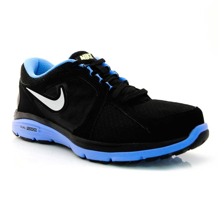 Tênis Running Feminino Nike Dual Fusion Run PRETO PTA AZUL BB Com o ... d0673d7131935