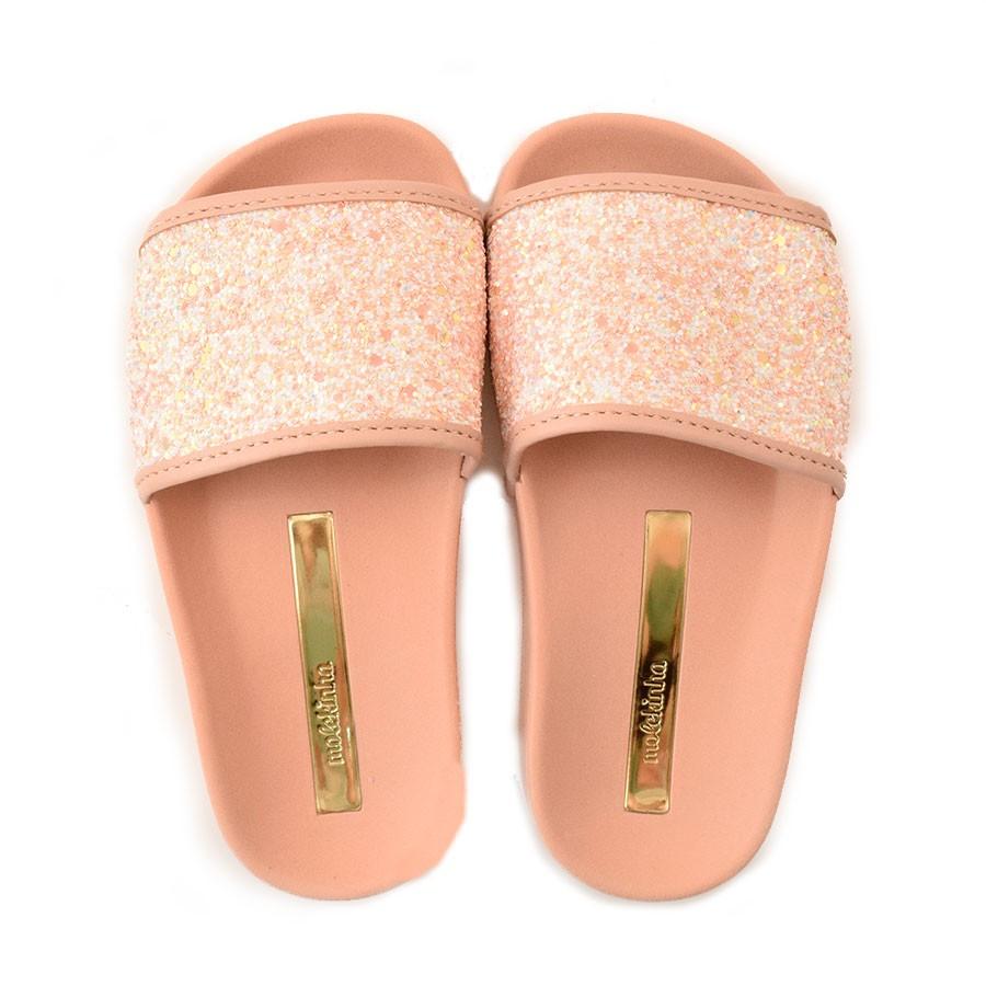 Chinelo Slide Com Glitter Infantil Molekinha - 25 Ao 34 MULTI BCO ... 72fe913ef2ea8