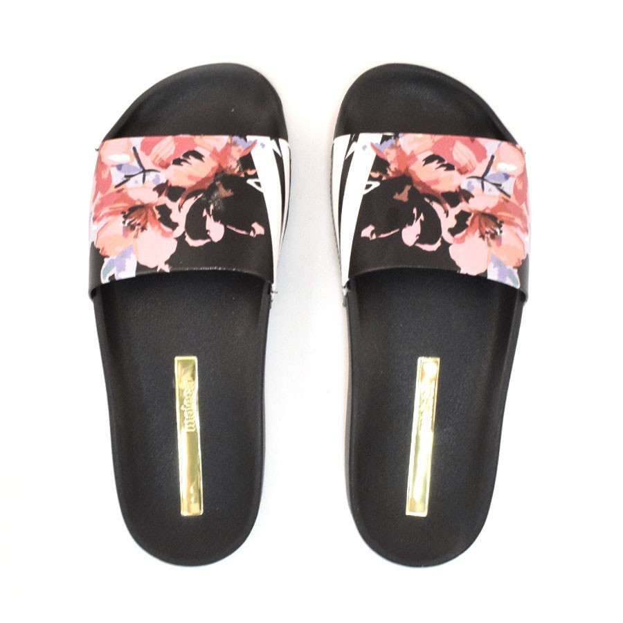 2be6a0441bb458 Chinelo Slide Feminino Floral Moleca