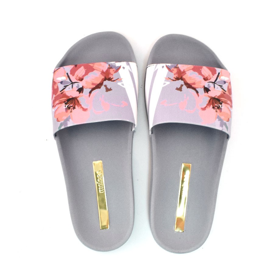 0ffa303fa4 Chinelo Slide Feminino Floral Moleca JEANS MULTI 14012 Com o Melhor ...