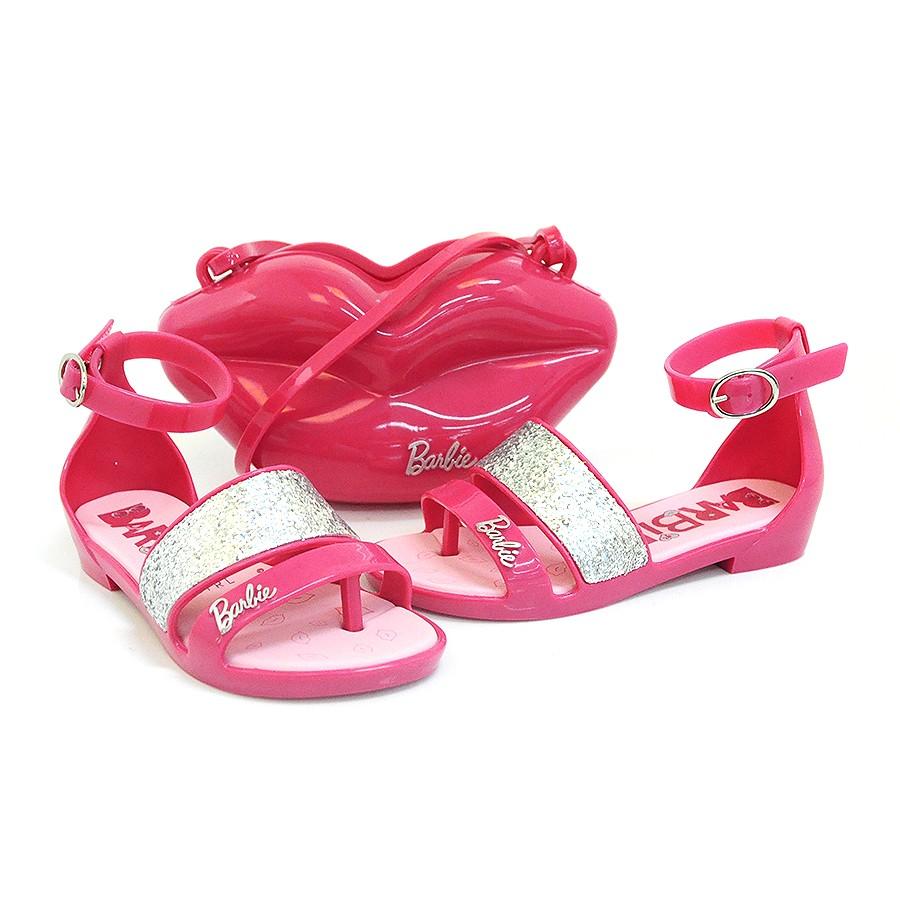 bb55f8bcd Sandália Infantil Barbie Por Gran + Brinde ROSA/PRATA 51449 Com o ...