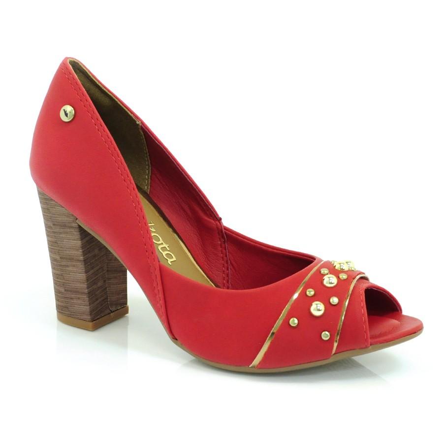 21c963250 Sapato Peep Toe Feminino Dakota MARSALA VERMELHO 004 Com o Melhor ...