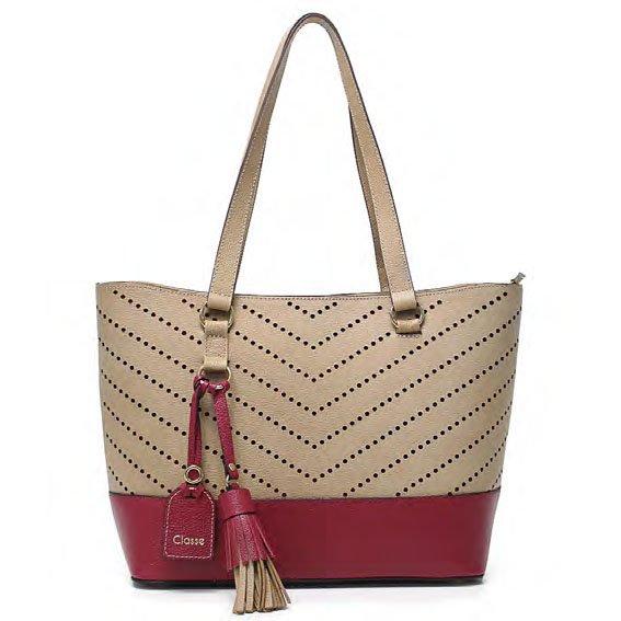 9ad346b43 Bolsa De Couro Grande Feminina Classe Couro VINHO Com o Melhor Preço ...