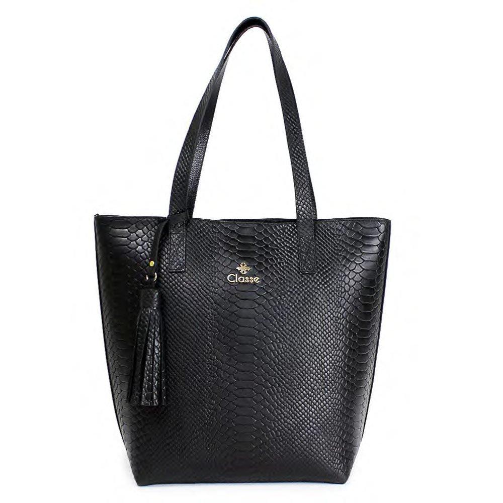 5394a3f94 Bolsa De Couro Grande Feminina Classe Couro PRETO/PRETO Com o Melhor ...