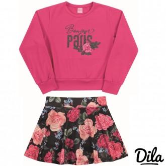 Imagem - (15101802) Conjunto Blusa E Shorts Saia Feminino Para Criança Dila - 2121155_4059-ROSA -4059-ROSA