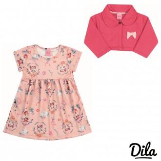 Imagem - (15601772) Vestido Malha Dupla Feminino Para Bebê Dila - 2121181_9003-ROSA FLOR