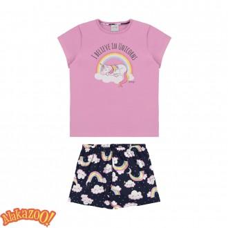 Imagem - (12004) Pijama Blusa e Shorts Unicórnio - Alakazoo ref: 12004