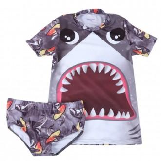 Imagem - (12208) Conjunto Infantil Manga Curta Com Sunga Shark Aquatic UV 50 - Kamylus ref: 12208
