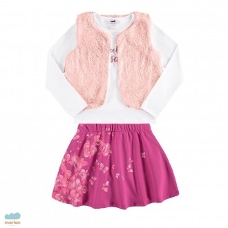 Imagem - (24608) Conjunto blusa com colete e saia - MARLAN ref: 24608