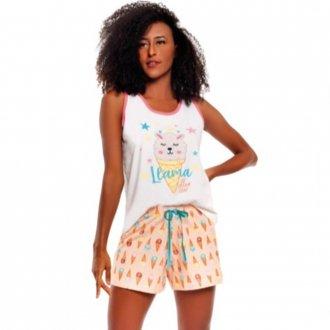 Imagem - (281) Short Doll Regata Bordado - Vily; ref: 281