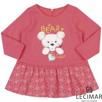 Imagem - (401489) Vestido Em Moletom Felpado E Meia Malha Feminino Para Bebê Lecimar ref: 401489