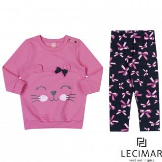 Imagem - (401536) Conjunto Blusão E Legging Feminino Para Bebê Lecimar - 479968_4174-ROSA JUJUBA