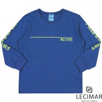 Imagem - (401559) Camiseta Meia Malha Penteada Masculino Para Bebê Lecimar - 479970_6119-AZUL IMPERIO
