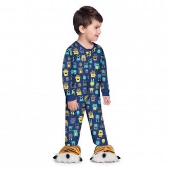 Imagem - (54023) Pijama Macacão Masculino Infantil Brandili - 931442_1696-AZUL