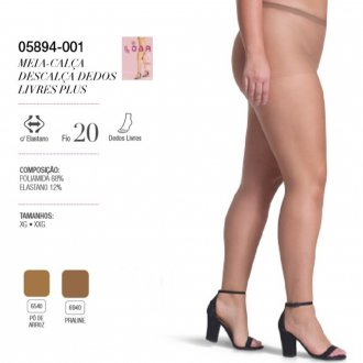 Imagem - (5894) Meia Calça Plus Size Dedos Livres Lupo ref: 5894