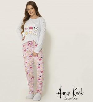 Imagem - Pijama Feminino Manga Longa Anna Kock ref: AK1380