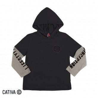 Imagem - (C60282) Camiseta C/ Capuz Masculino Infantil Cativa ref: C60282