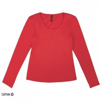 Imagem - (C60374) Blusa de cotton básica - CATIVA ref: C60374